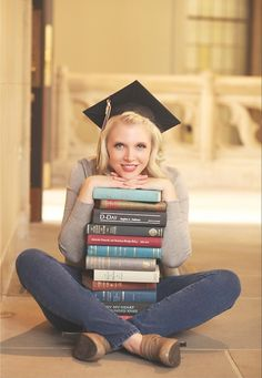 I need to do this! without the graduation cap, I just love the pose with the stack of books