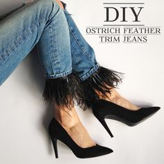 EJSTYLE - DIY Ostrich feather trim jeans, customise jeans, old boyfriend jeans