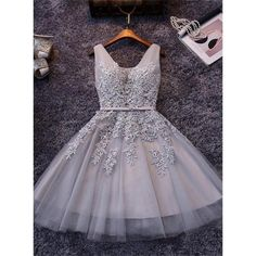 Beaded/Beading Prom Dresses, Grey A-line/Princess Prom Dresses, Short Grey Prom Dresses, 2017 Homecoming Dress Sexy A-line V-neck Short Prom Dress Party Dress
