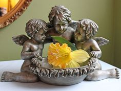 Three Cherubs  Figurines over Basin. Resin by AnythingDiscovered, $82.00
