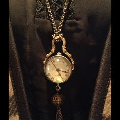 """New Vintage Round Quartz Clock Pendant, Brass Brass with 30"""" brass chain. Quartz watch with Roman numerals that is new and works, new battery. Brass chain tassels. Other"""