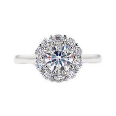 GIA Certified Round Halo Diamond Engagement by GoelTalaDiamondsInc, $3700.00