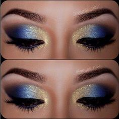 Blue gold eyeshadow like a starry night.