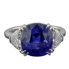 Burma 8.82 carat Sapphire  Diamond Ring | From a unique collection of vintage engagement rings at https://www.1stdibs.com/jewelry/rings/engagement-rings/