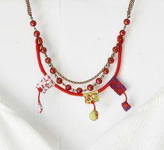 Cuerda collar rojo envolver collar babero declaración collar tres filamento grueso collar damas Otoño colorido joyería