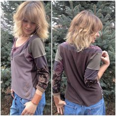 Eco  Patchwork Shirt ,Size M,  bat wing  sleeve,scoop neck,  upcycled, earthy mix, leaf applique by Zasra