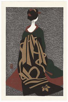 Maiko Kyoto (I) by Kiyoshi Saito (1907 - 1997). Japanese woodblock print. Ukiyoe.