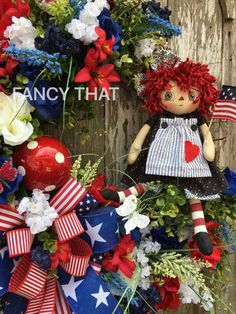 Patriotic Raggedy Ann Grapevine Wreath, Fourth of July wreath, 4th of July, raggedy ann, rag doll, patriotic wreath, payment plan available