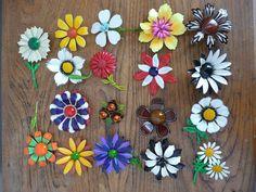 Vintage 1960s Enamel Flower Brooch Lot by CreatedAndCollected, $200.00