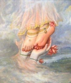 ...Radha's feet on Krishna's hands... Hindu art. Pureness...