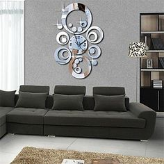 20H Modern Style Round Circles 3D DIY Acrylic Mirror Wall Clock *** Review more details here : home diy wall
