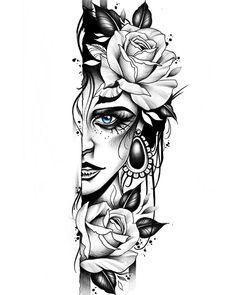 Unique Half Sleeve Tattoos, Half Sleeve Tattoos Designs, Flower Tattoo Designs, Tattoo Designs Men, Half Sleeve Tattoos Drawings, Shoulder Tattoos For Women, Sleeve Tattoos For Women, Tattoos For Guys, Rose Tattoos