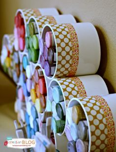 DIY Craft Room Ideas and Craft Room Organization Projects - Craft Paint Storage - Cool Ideas for Do It Yourself Craft Storage - fabric, paper, pens, creative tools, crafts supplies and sewing notions . Diy Bedroom Organization And Storage Ideas Craft Paint Storage, Craft Organization, Pvc Storage, Storage Containers, Ribbon Storage, Organizing Ideas, Organizing Life, Paper Storage, Office Storage