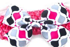 Pink/Grey/Black Handmade Bow With Headband $4.95 #GlitzAndGigglez