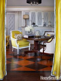 Cool Painted Floors - Chevron and Checkerboard Floor Color - House Beautiful