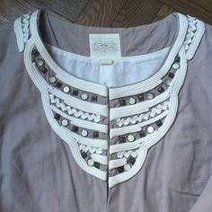 Anthropologie jacket Perfect over a dress or a meeting. Running around town with jeans! Cotton viscose linen blend. Doesn't wrinkle too much and lined in a soft cool cotton. Embellished collar and hook closures. Sits at the low waist in the back for a flattering cut! All orders are steamed before shipping. Anthropologie Jackets & Coats Blazers