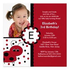 Red Ladybug Photo Birthday Invitation