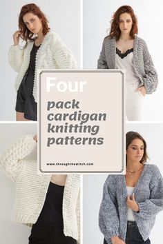 A cardigan bundle. Discover amazing knitting patterns for women. Affordable and easy downloads. #knittingpatterns #cardiganpattern #knitcardigan #throughthestitch Cardigan Pattern, Knit Cardigan, Knitting Patterns, Stitch, Coat, Amazing, Easy, Women, Style