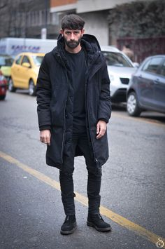 black on black jacket jeans hair beard simple look streetstyle fashion men tumblr new york city