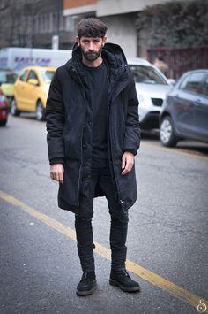 black on black jacket jeans hair beard simple look streetstyle fashion men tumblr new york city