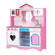 Keezi Kids Pink Kitchen Set with Pretend Play Food  Designed to look and feel like a real kitchen, our Keezi Wooden Kitchen Play Set promises hours of pretend cooking fun for the little chef in your child.