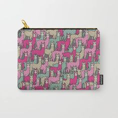 Perfect gift idea! It can be used for toiletries, art supplies, makeup and smaller electronics. Carry-all pouch is avilable in different sizes. | #pouch #society6 #murkydesign #pattern #patterndesign #llama #lama #herd #fun #funny #doodle #pink #green Funny Llama, Pouch, Wallet, Organize Your Life, Fun Funny, Art Supplies, Carry On, Pattern Design, Coin Purse