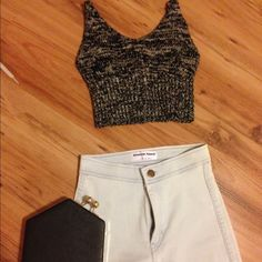 UO woven crop top tank & AA Jeggings Whole outfit minus the black bag. Urban Outfitters is XS, perfect condition, worn only once. American Apparel Jeggings are a size 0 or 24/25 and are in very good condition, no rips or stains. You can buy individual sale: UO top would be 20$ and AA pants would be 25$ Urban Outfitters Tops Tank Tops