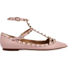 Valentino Rockstud textured-leather point-toe flats ($775) ❤ liked on Polyvore featuring shoes, flats, t-strap flats, flat heel shoes, valentino shoes, strappy flats and flat pointed toe shoes