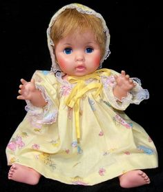 """Vintage Eegee 13"""" Vinyl & Hard Plastic Baby Doll in Cute 3-Piece Outfit - VGC 