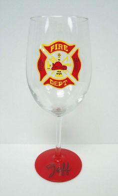 Fire Fighter Wine Glass - handpainted glass -custom glass