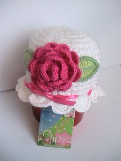 Crochet Baby Girl Hat with Pink Flower  White Hat by MILAVIKIDS, $25.00