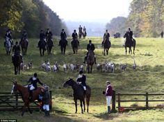 The Duke of Beaufort's Hunt - Riders arrive with their hounds ready for the opening meet of the season
