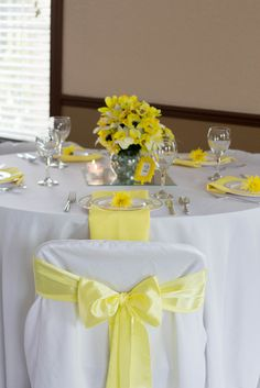 Yellow, White and Grey Wedding Party table!  See more party ideas at CatchMyParty.com!