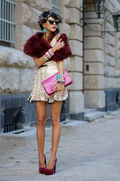 MACADEMIAN GIRL: COVERED IN BURGUNDY FEATHERS