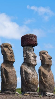 Stone sculptures, Easter-Island, Chile.