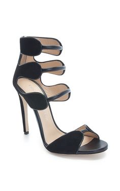 Black suede and calf larkspur sandal by CHLOE GOSSELIN for Preorder on Moda Operandi