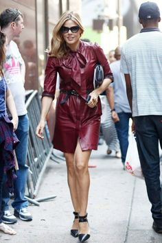 Leather shirtdress