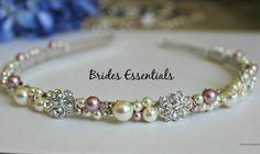 Bridal Headband, Swarovski Pearl, Rhinestone Flower, Wrapped Metal Hair Band Wedding Headband, Bridesmaid, Ivory Pink Headband, Bridal Tiara