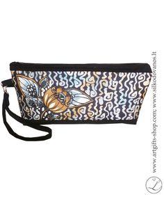 Elegant Handmade silk clutch bag black flower by LGIFTSLithuania