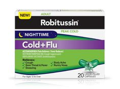 "Nighttime Cold + Flu - Relieves: Cough, Sore Throat, Runny Nose, Sneezing, Body Ache, Fever (I am saving this for my future reference. I was treating myself with sinus infection medications that dealt with nasal congestion. I didn't have congestion, my nose was constantly running. I needed to dry my sinus areas up, not make them run. The ""daytime"" formula is different and won't work for runny noses. - Deb)"