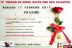 ¿Sin planes para #SanValentín? Padel Plaza te invita a participar en su IV #TORNEO MIXTO SAN VALENTÍN, este sábado 11 de febrero. ¡No esperes más e inscríbete ya!