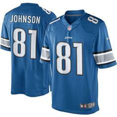 Men s Detroit Lions Calvin Johnson Nike Light Blue Team Color Limited Jersey d20adc7b4