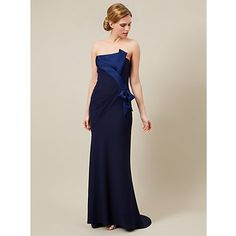 Buy Jacques Vert Neck Detail Maxi Dress, Navy Online at johnlewis.com