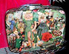 50's retro Decoupaged Collage Green Vintage Kitsch Fun Theme   Suitcase