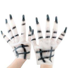 [$3.70] Halloween Cosplay Latex White Horrific Ghost Gloves