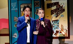 Nat Wolff and Cara Delevingne present at the 2015 MTV Movie Awards held at the Nokia Center