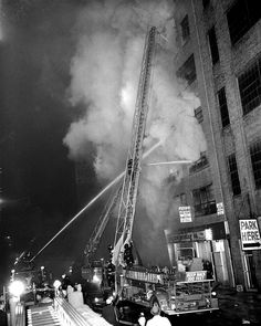 Firefighters battled a 4-alarm fire at 345 West 40th Street, Manhattan, on Feb. 17, 1962.