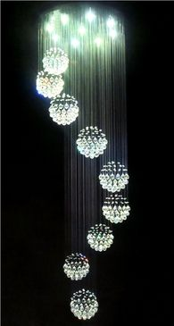 Spiral Ball Chandelier, Contemporary Crystal Lighting for Staircases and Void areas. Exclusive to Designer Chandelier Australia Pty Ltd