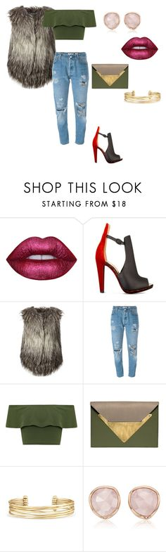 """Untitled #114"" by carterraven on Polyvore featuring Lime Crime, Christian Louboutin, Diesel, Levi's, WearAll, Dareen Hakim, Stella & Dot and Monica Vinader"