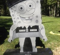 Soldier's SpongeBob headstone stirs grave debate  By Matthew T. Hall,Oct. 22, 2013 Family chose design w/ guidance of a Spring Grove employee who made a serious error in judgment. It does not fit  Cem guidelines, was not approved by senior management & cannot remain.  We are working w/the Walker family & are committed to design a solution, at our expense, that will meet historic landscape & guidelines.